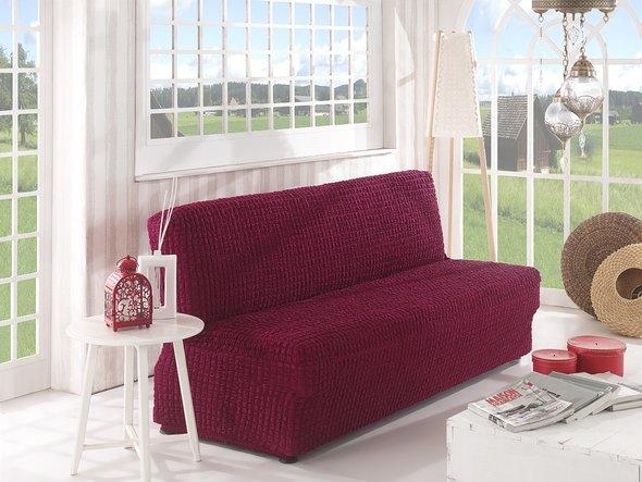 Чехол на диван без юбки и подлокотников Karna (бордовый) трёхместный, фото, фотография