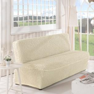 Чехол на диван без юбки и подлокотников Karna кремовый трёхместный