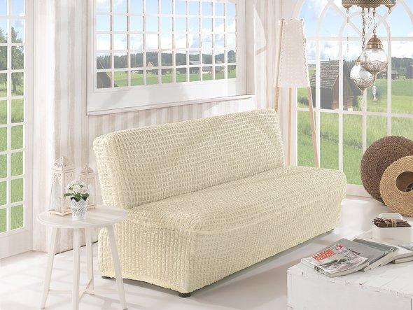 Чехол на диван без юбки и подлокотников Karna (кремовый) трёхместный, фото, фотография