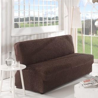 Чехол без юбки на двухместный диван без подлокотников Karna (коричневый)