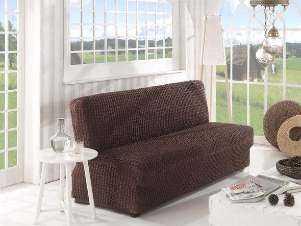 Чехол на диван без юбки и подлокотников Karna (коричневый) двухместный, фото, фотография