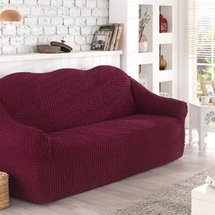 Чехол на диван без юбки Karna бордовый трёхместный