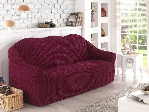 Чехол на диван без юбки Karna (бордовый) трёхместный, фото, фотография