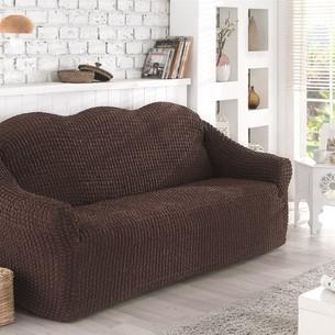 Чехол на диван без юбки Karna коричневый трёхместный