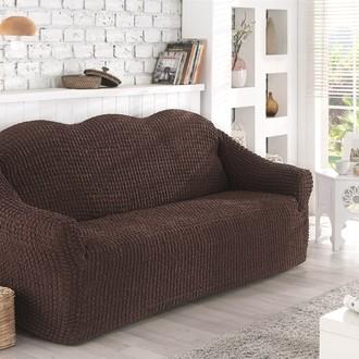 Чехол без юбки на двухместный диван Karna (коричневый)