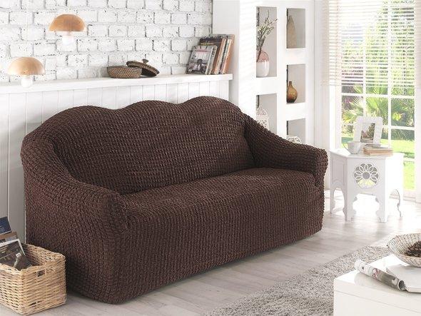 Чехол на диван без юбки Karna (коричневый) трёхместный, фото, фотография