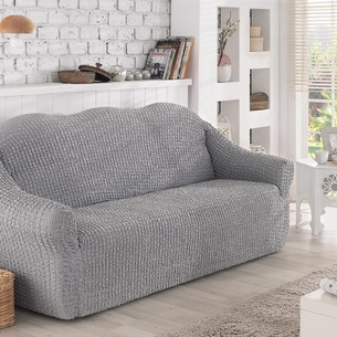 Чехол на диван без юбки Karna серый трёхместный