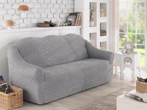 Чехол на диван без юбки Karna (серый) трёхместный, фото, фотография
