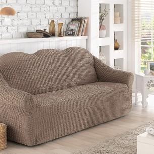 Чехол на диван без юбки Karna кофейный трёхместный