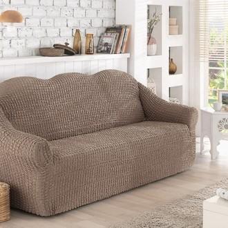 Чехол без юбки на двухместный диван Karna (кофейный)