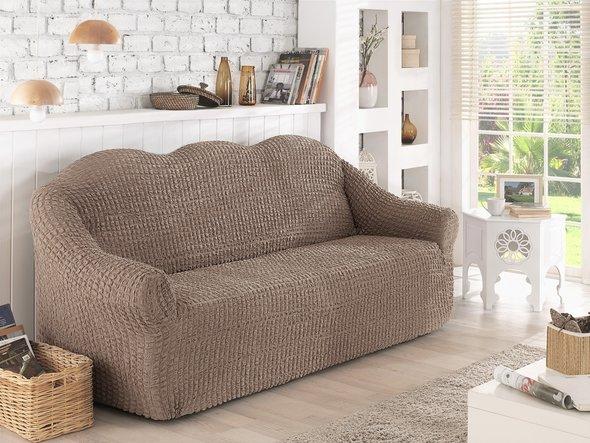 Чехол на диван без юбки Karna (кофейный) двухместный, фото, фотография