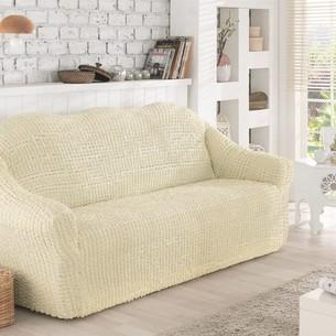 Чехол на диван без юбки Karna кремовый трёхместный