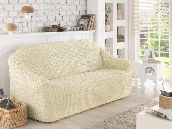 Чехол на диван без юбки Karna (кремовый) трёхместный, фото, фотография