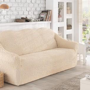 Чехол на диван без юбки Karna натурал трёхместный