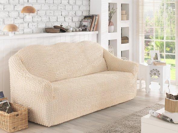 Чехол на диван без юбки Karna (натурал) трёхместный, фото, фотография