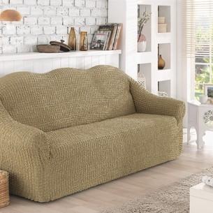 Чехол на диван без юбки Karna бежевый трёхместный