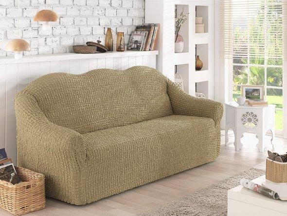 Чехол на диван без юбки Karna (бежевый) трёхместный, фото, фотография