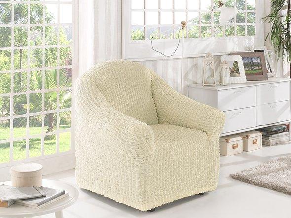Чехол без юбки на кресло Karna (кремовый), фото, фотография