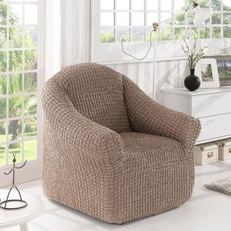 Чехол без юбки на кресло Karna (кофейный)