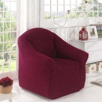 Чехол без юбки на кресло Karna (бордовый)