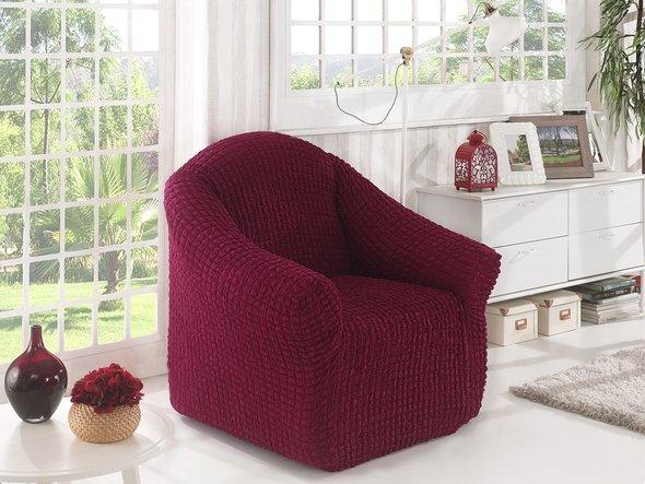 Чехол без юбки на кресло Karna (бордовый), фото, фотография