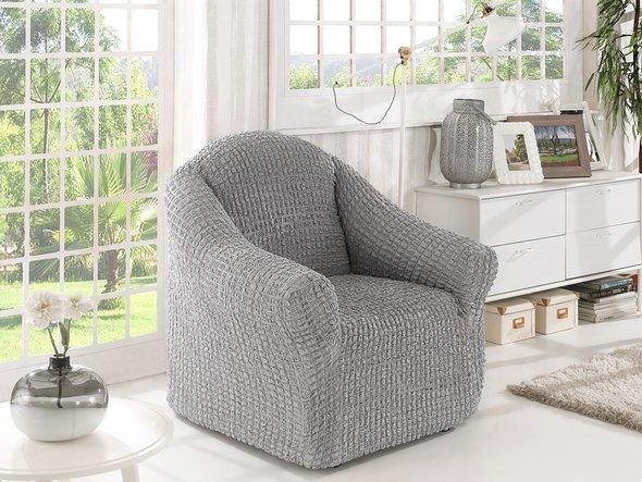 Чехол без юбки на кресло Karna (серый), фото, фотография