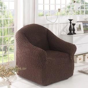 Чехол без юбки на кресло Karna коричневый
