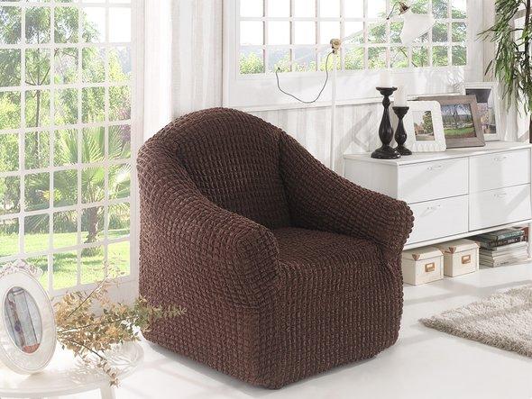 Чехол без юбки на кресло Karna (коричневый), фото, фотография