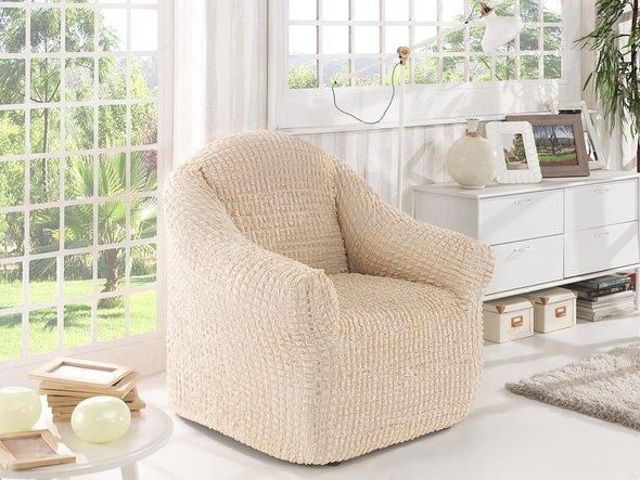 Чехол без юбки на кресло Karna (натурал), фото, фотография