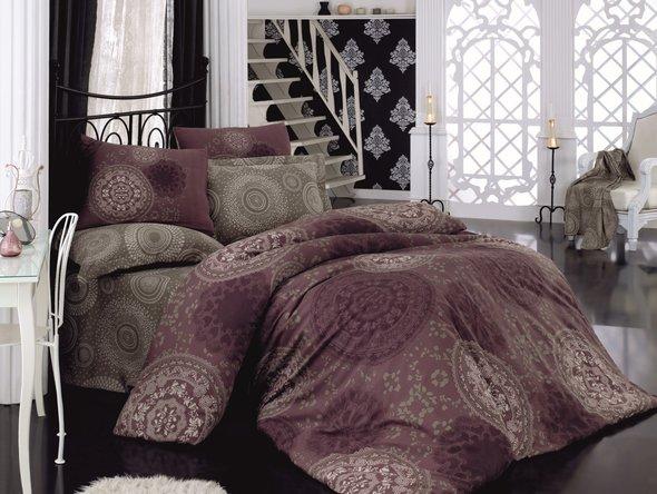 Комплект постельного белья Cotton Box ROYAL SATEN SEMA сатин хлопок (фиолетовый) евро, фото, фотография