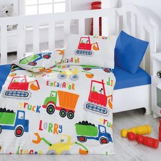 Комплект постельного белья в кроватку Cotton Box BABY LINE SANTIYE ранфорс хлопок (синий)