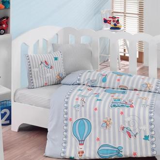 Комплект постельного белья в кроватку Cotton Box BABY LINE GEZGIN ранфорс хлопок (синий)