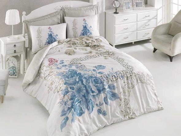 Комплект постельного белья Cotton Box SATEN LINE DEFNE сатин хлопок (синий) евро, фото, фотография