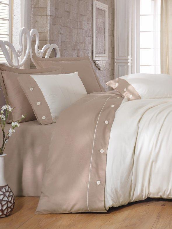 Комплект постельного белья Cotton Box FASHION SATEN сатин хлопок (бежевый-2) евро, фото, фотография
