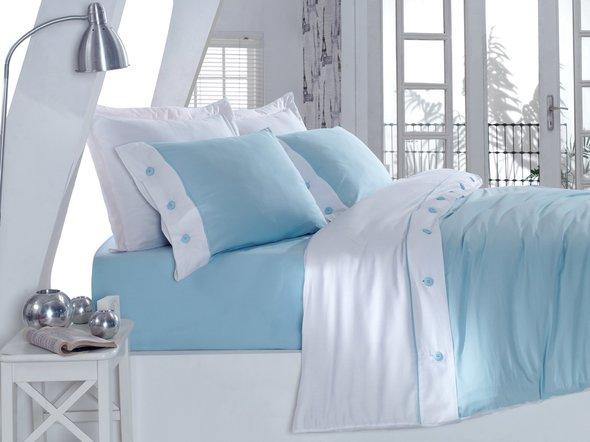 Комплект постельного белья Cotton Box FASHION SATEN сатин хлопок (голубой) евро, фото, фотография