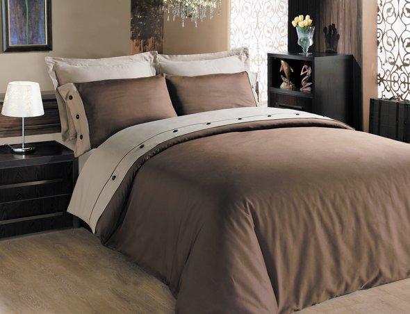 Комплект постельного белья Cotton Box FASHION SATEN сатин хлопок (коричневый) евро, фото, фотография