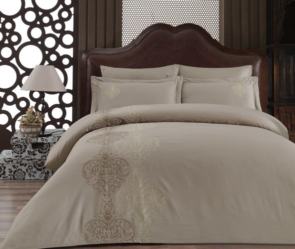 Комплект постельного белья Cotton Box BRODE SATEN MEMORY сатин хлопок (бежевый) евро, фото, фотография