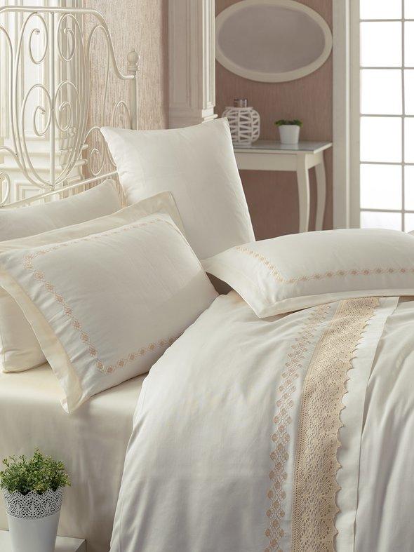 Комплект постельного белья Cotton Box BRODE SATEN LACE сатин хлопок евро, фото, фотография