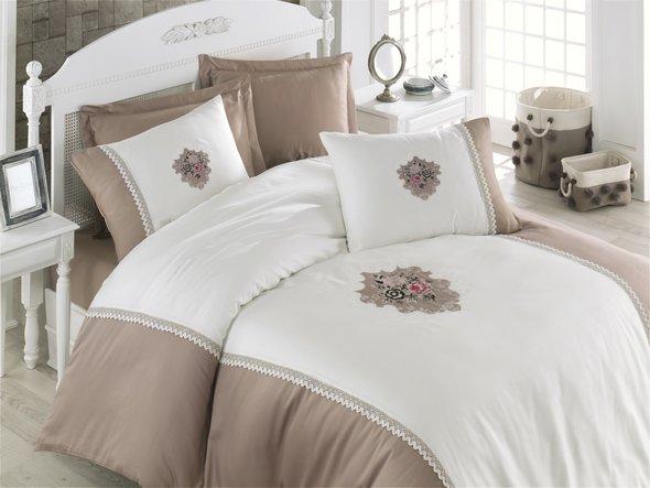 Комплект постельного белья Cotton Box BRODE SATEN ELITE сатин хлопок (бежевый) евро, фото, фотография
