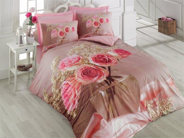 Комплект постельного белья Cotton Box 3D LIFE SERIES ROZA ранфорс хлопок евро, фото, фотография