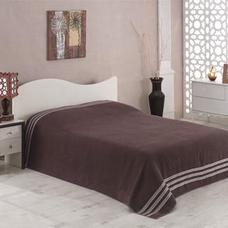 Махровая простынь-покрывало для укрывания Karna PETEK махра хлопок коричневый