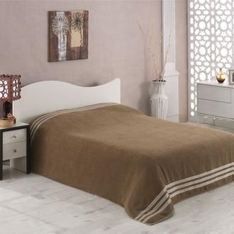 Махровая простынь-покрывало-одеяло Karna PETEK махра хлопок (кофейный)