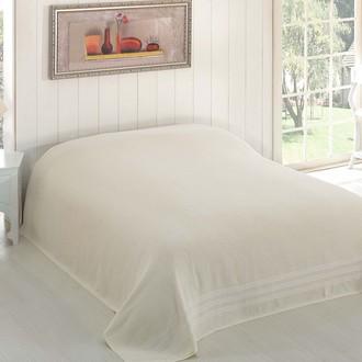 Махровая простынь-покрывало-одеяло Karna PETEK махра хлопок (кремовый)