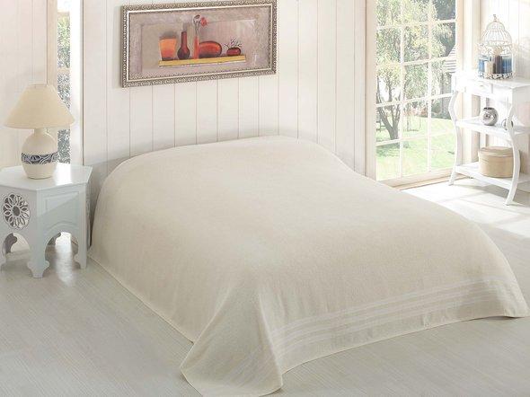 Махровая простынь-покрывало-одеяло Karna PETEK махра хлопок (кремовый) 200*220, фото, фотография