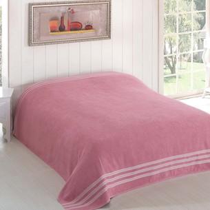Махровая простынь-покрывало для укрывания Karna PETEK махра хлопок грязно-розовый 160х220