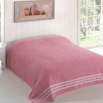 Махровая простынь-покрывало для укрывания Karna PETEK махра хлопок (грязно-розовый)