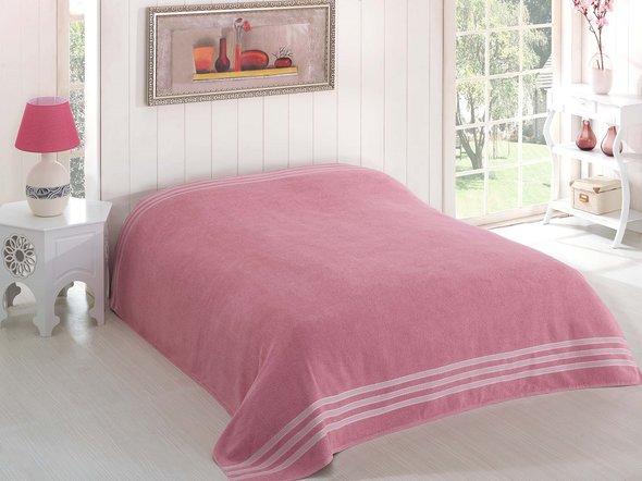 Махровая простынь-покрывало для укрывания Karna PETEK махра хлопок (грязно-розовый) 200*220, фото, фотография