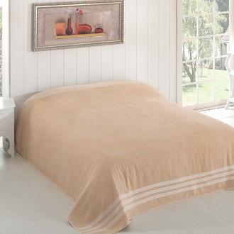 Махровая простынь-покрывало-одеяло Karna PETEK махра хлопок (бежевый)