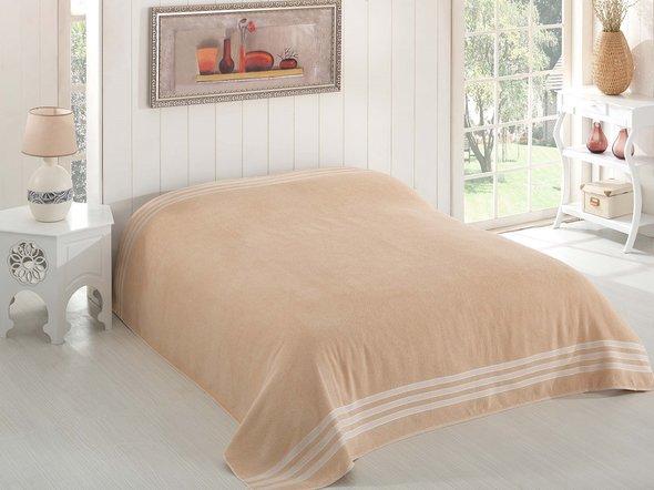 Махровая простынь-покрывало-одеяло Karna PETEK махра хлопок (бежевый) 200*220, фото, фотография