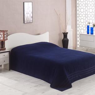 Махровая простынь-покрывало для укрывания Karna PETEK махра хлопок синий 160х220
